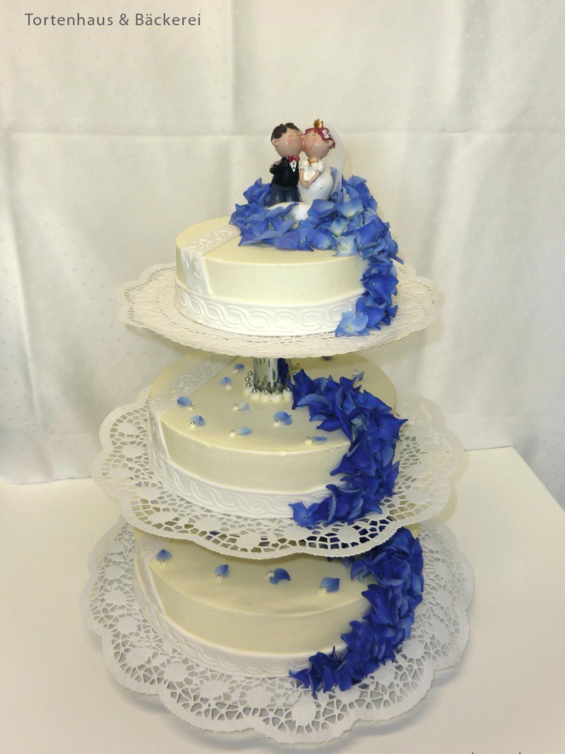 Hochzeits Torte Blauer Akzent Auf Ja De